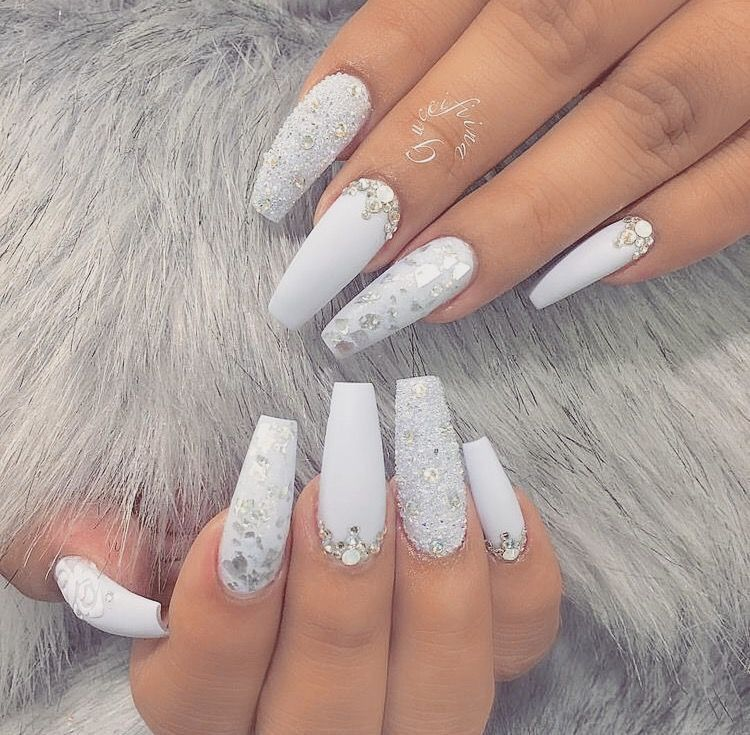 Nails Gems Luxury Nails Gorgeous Nails White Nails