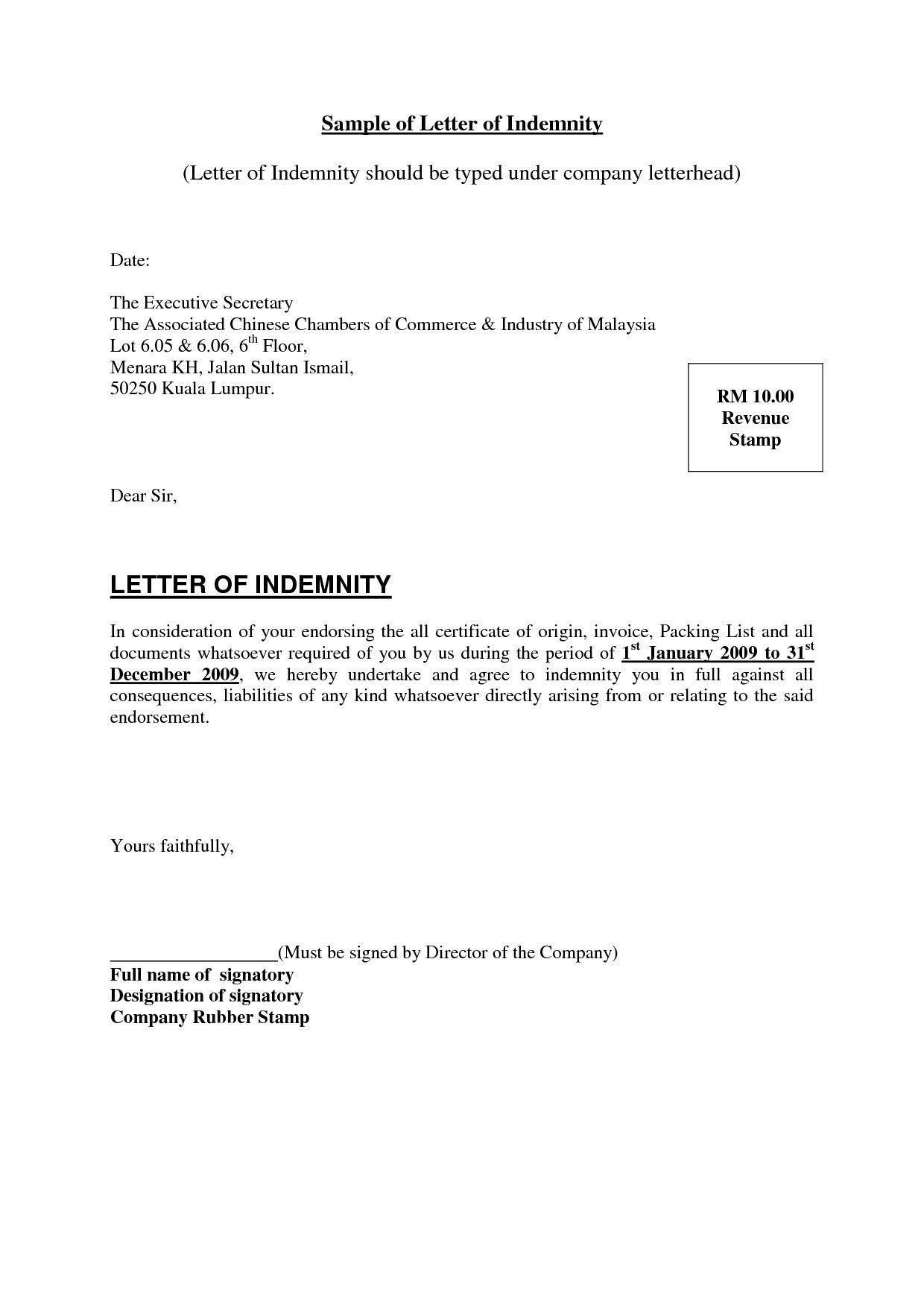 Valid Letter Of Indemnity For Bank Lettering Indemnity Letter