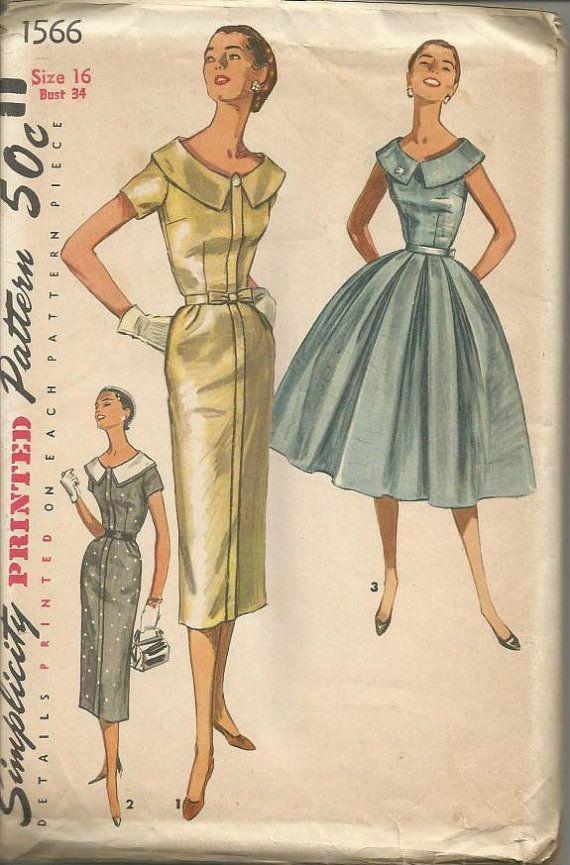 1950s Cocktail Dinner Sheath Or Full Skirt Skirt Dress Sleeve