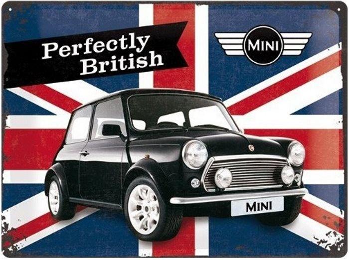 austin mini perfectly british plaque d corative r tro en m tal repr sentant une austin mini. Black Bedroom Furniture Sets. Home Design Ideas