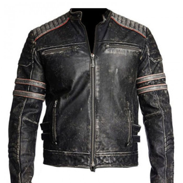 Vintage Motorcycle Distressed Black Leather Jacket In Usa Uk Canada Australia Germany France Greece Russia Alaska New York Los Angeles Chicago Houst Distressed Leather Jacket Leather Jacket Men Cafe Racer Leather