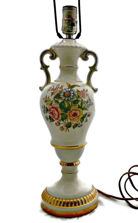 Double Handle Urn Lamp Floral Antique Urn Antique Lamps Vintage Lamps