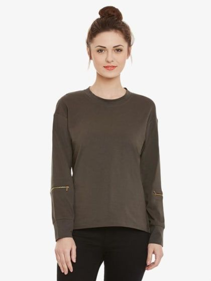 8d623342846 Olive Green Solid Round Neck Full Sleeves Top | Only on ravishing.wooplr.com