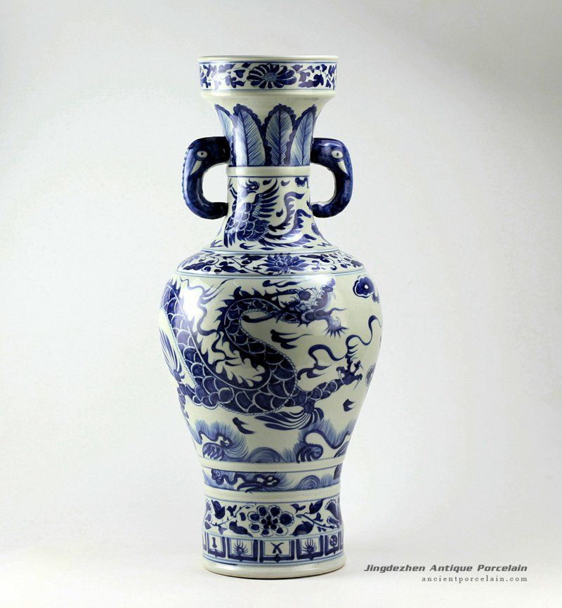 Rzez01253inch Blue And White Dragon Vases With Elephant Handle