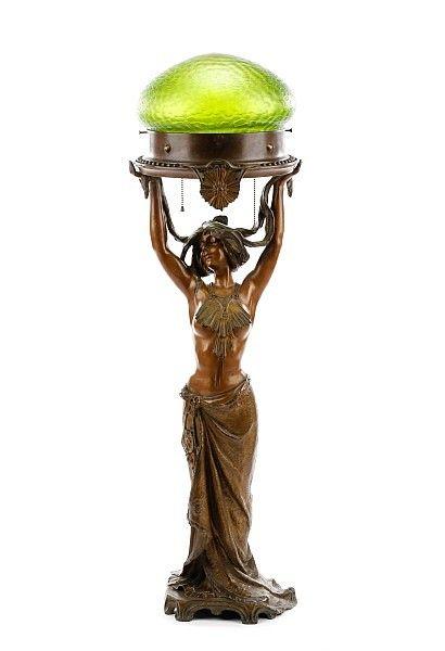 Art Nouveau Figural Lamp 'Solaire', Lucien Alliot