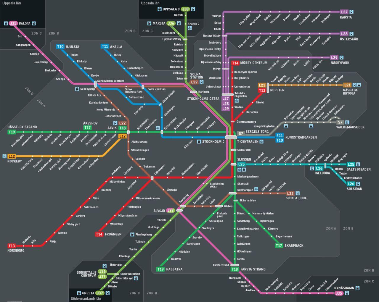 New Rail Transit Map For Stockholm Sweden M A P - Sweden map 2015