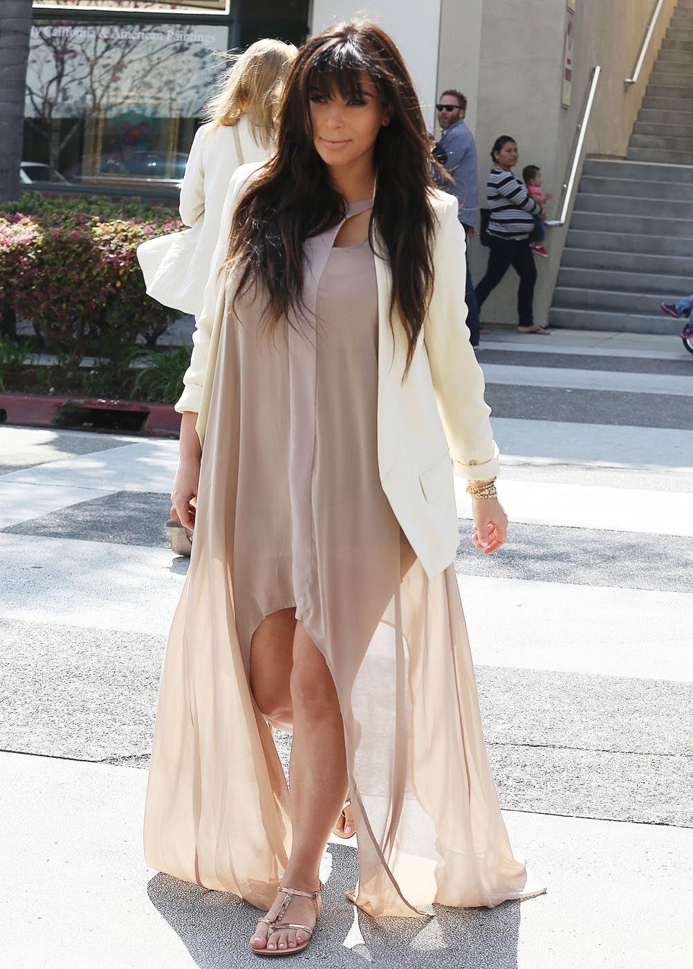 Kim Kardashian love this dress with the blazer and nudes