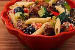 Pasta Salad with Italian Sausage, Zucchini, Red Peppers and Olives
