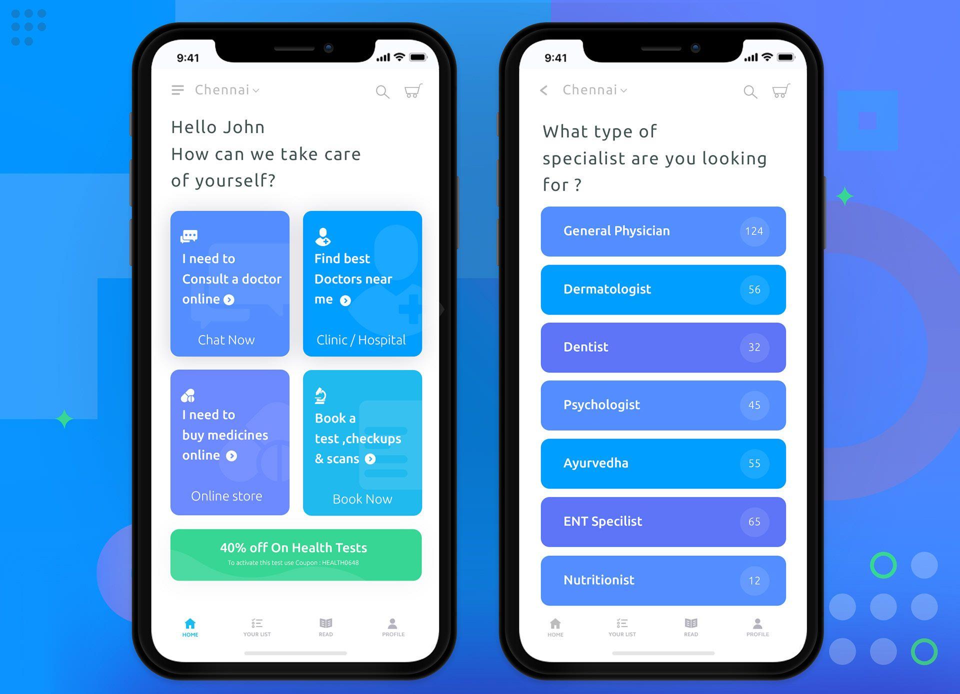 Medical App for IOS on Behance Medical app, App design