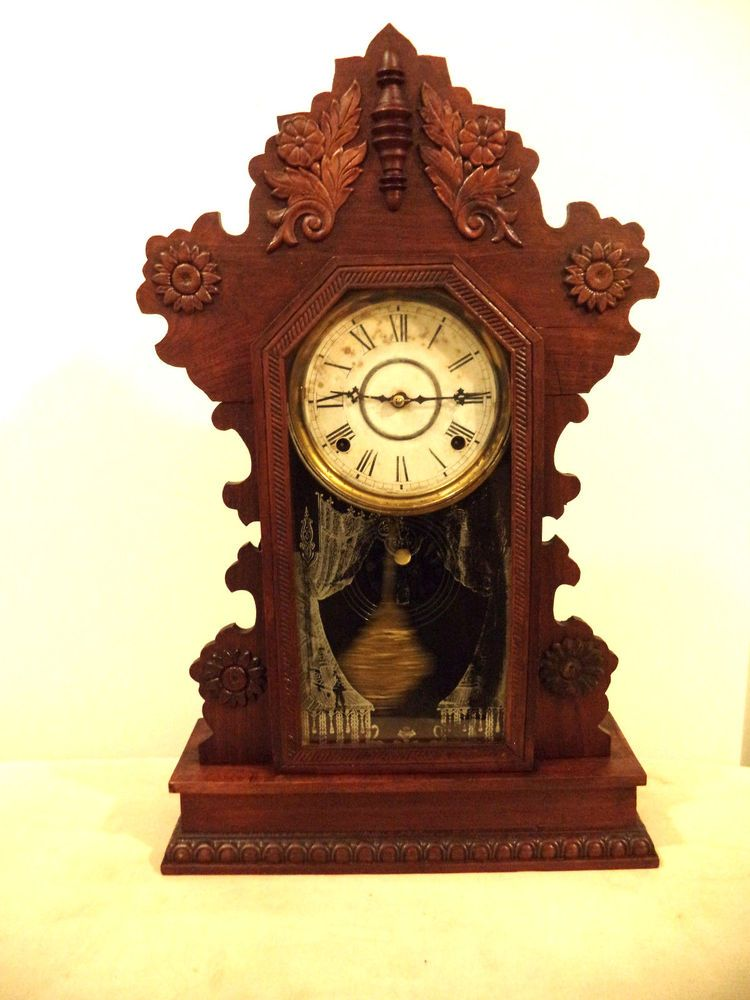 Gilbert Kitchen Clock Grill Beautiful Antique William L Parlor 8 Day Working 1880 S