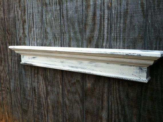 White Distressed Wood Wall Shelf Wooden Mounted With Black Wrought Iron 1724 X Auf