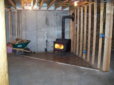 Wood Stove In Unfinished Basement Basement Carpet