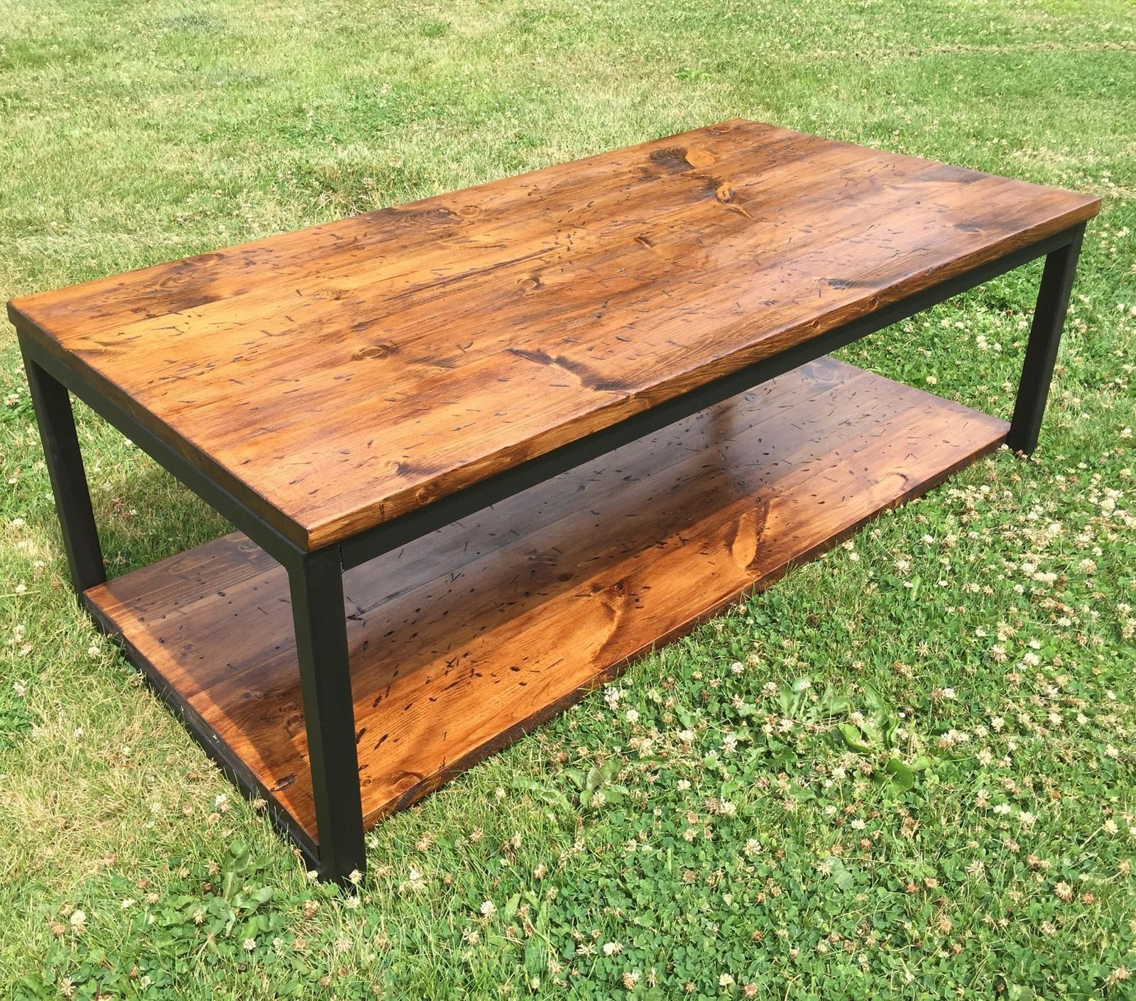 Rustic Wood And Metal Coffee Cocktail Table