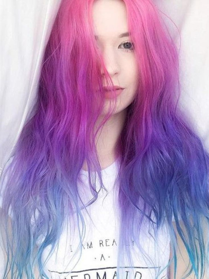 New Type Pink To Purple To Blue Ombre Long Wave Lace Front Synthetic Wig Haircolor Hairstyle Haarfarbe Frisuren Ombre Hair Purple Ombre Hair Hair Styles