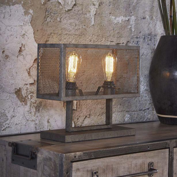 Abat À Poser Jour Ralf Gris Pier 40x15x33cm Grillagé Lampe Métal ZTwPiulOkX