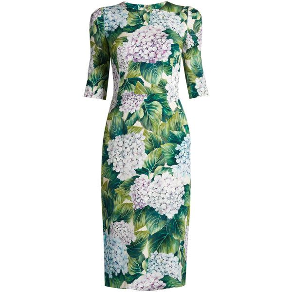Hortensia-print round-neck charmeuse dress Dolce Gabbana MATCHESFASHION.COM featuring polyvore