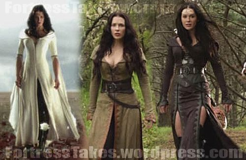 3 of Kahlan's outfits: Mother Confessor gown, traveling outfit, later Season 2 leather outfit