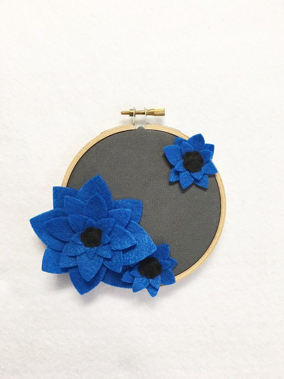 Fabric Wall Art Embroidery Hoop Art Deep Blue by RedMarionette