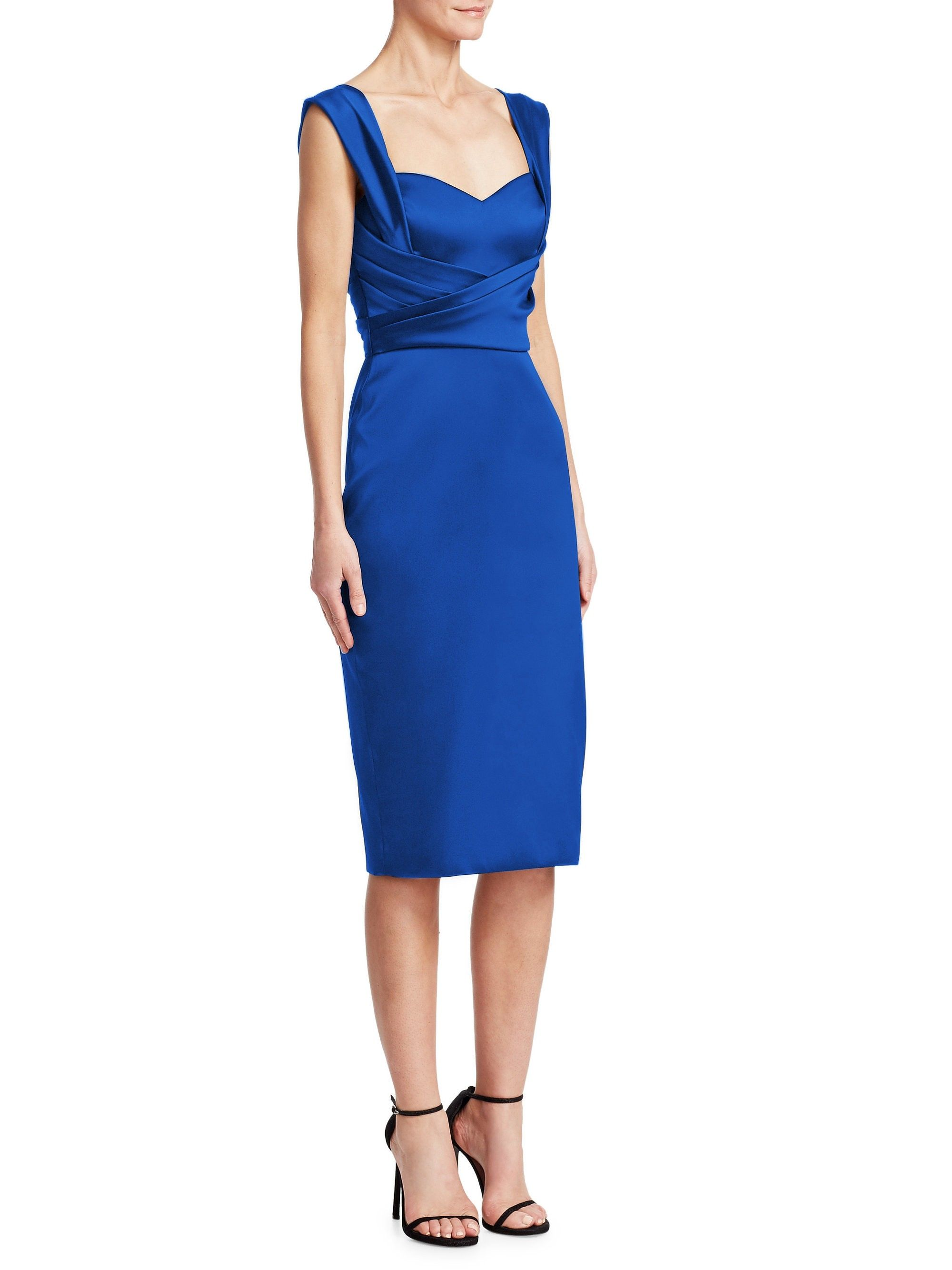 9ac5ed14b69 Theia Sweetheart Cocktail Dress - Cobalt 10 Satin Dresses