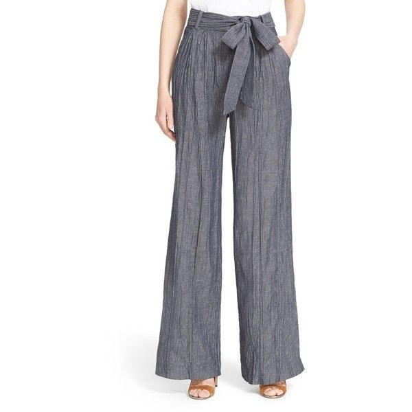 Women's Milly Trapunto Stitch Denim Trousers (£180) ❤ liked on Polyvore featuring pants, denim, woven pants, high waisted wide leg trousers, long wide leg pants, wide-leg trousers and wide-leg pants