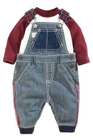 Blue Plum Tick Stripe Dungarees (0-18mths) from Next