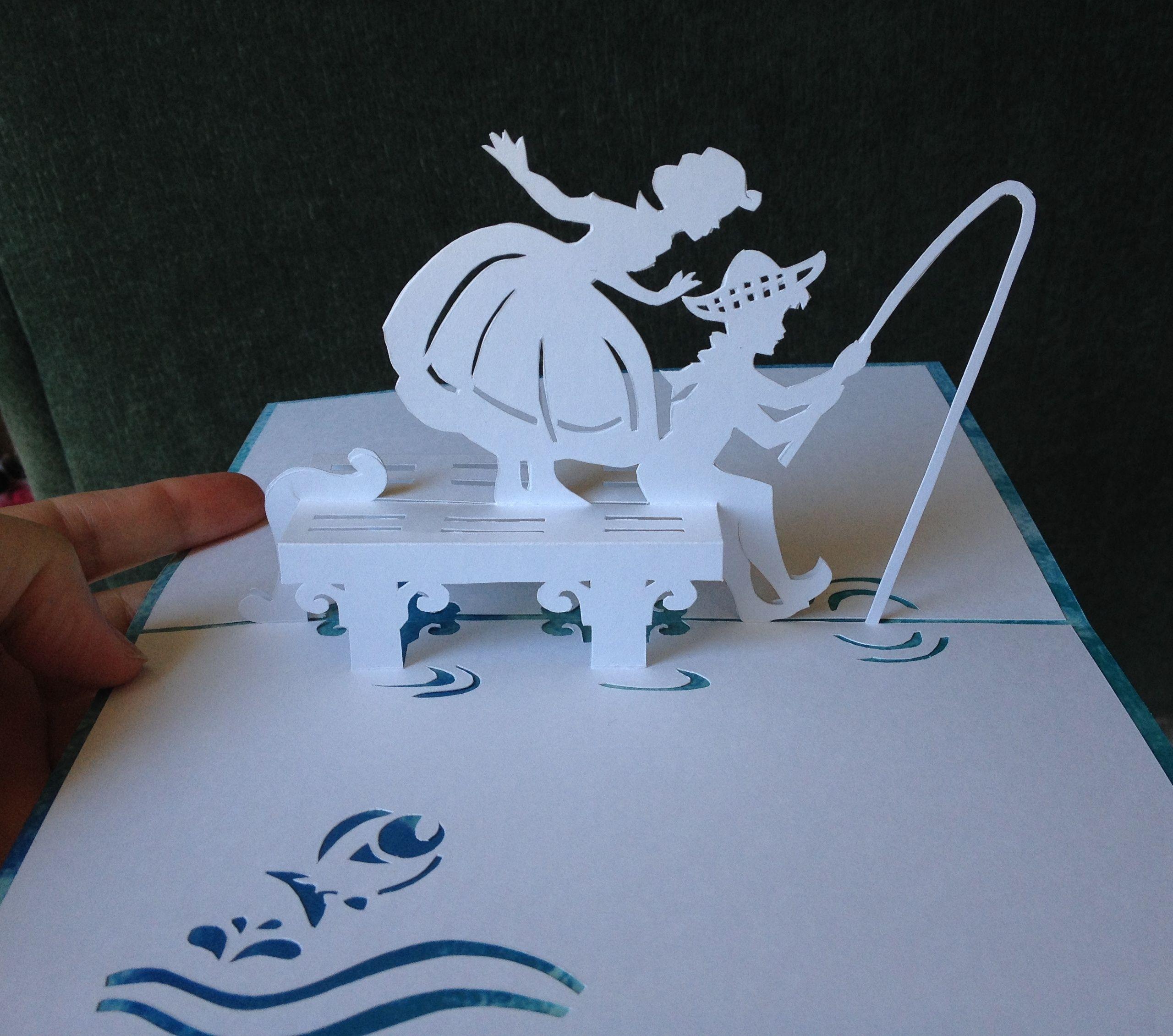 fishing pop up card template from cahier de kirigami no 16