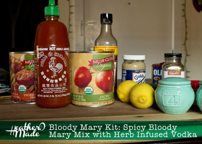 Homemade Gift: Bloody Mary Kit with Spicy Bloody Mary Mix with Herb Infused Vodka by HeatherOMade