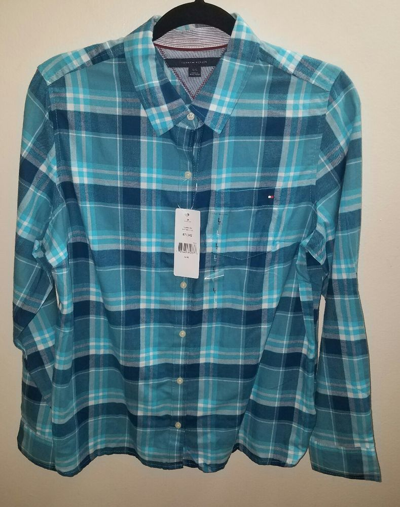 af6aca77 NWT Womens Tommy Hilfiger Button Down Shirt Blue Plaid Size Large Long  Sleeve #TommyHilfiger #ButtonFront