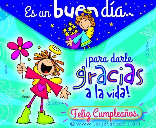 Tarjeta de cumpleaños, gracias a la vidaÁngeles con estrellas y flores u00a9 ZEA www tarjetaszea