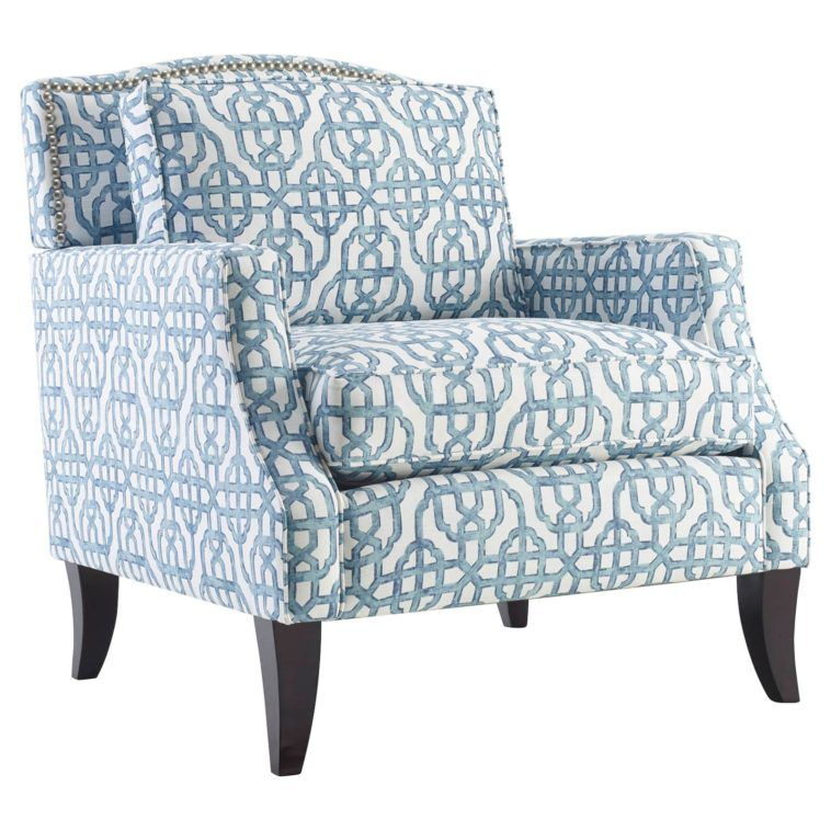 living room accent chairs with arms. Blue White Accent Chairs With Arms And Large Back On Black Wooden Base  Having Rectangle Cushion