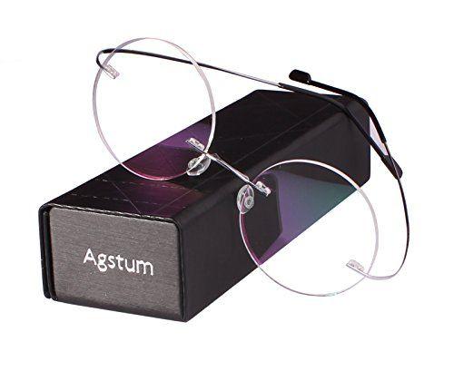 e7055619a2f Agstum Pure Titanium Round Prescription Rimless Glasses Frame 46mm Rimless  Glasses