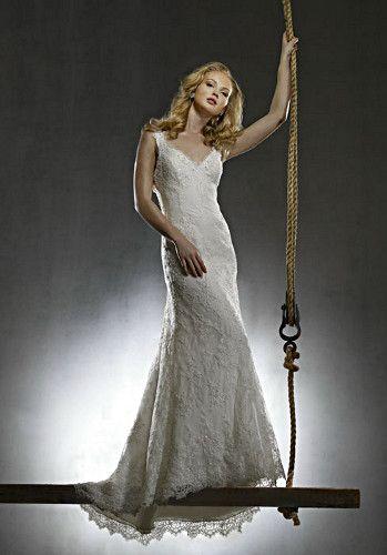 "Robert Bullock ""Julia"" - Beaded Lace V-Neck Gown"