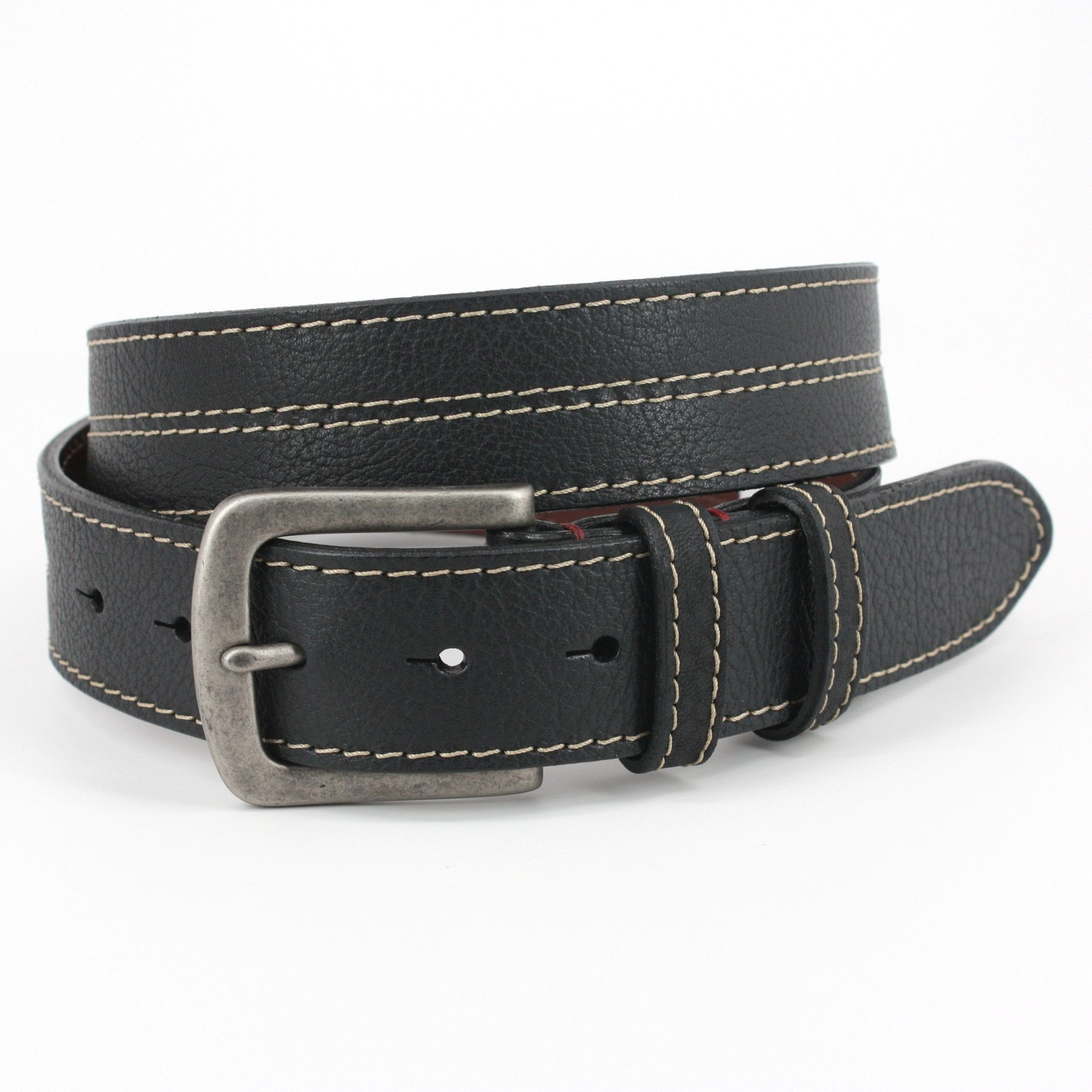 Black Shrunken Bison Leather Belt Quality USA Handcrafted