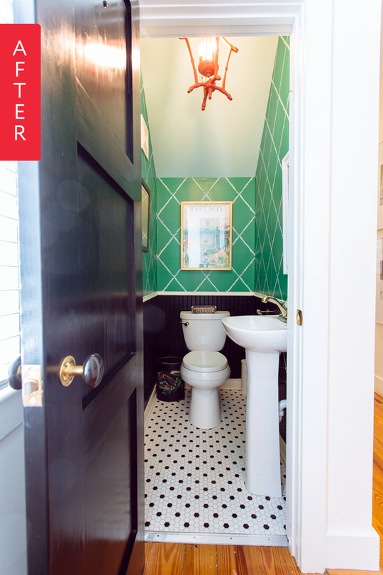 Before After A Powder Room Wins The Race Bathroom Wallpaper Green Bathroom Design Inspiration Tiny Powder Rooms