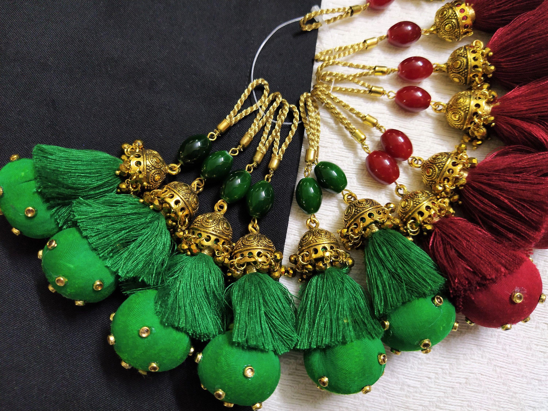 4 Small Green Gold Indian Pendant Silk Tassels Latkan Sari Blouse Crafts Sewing