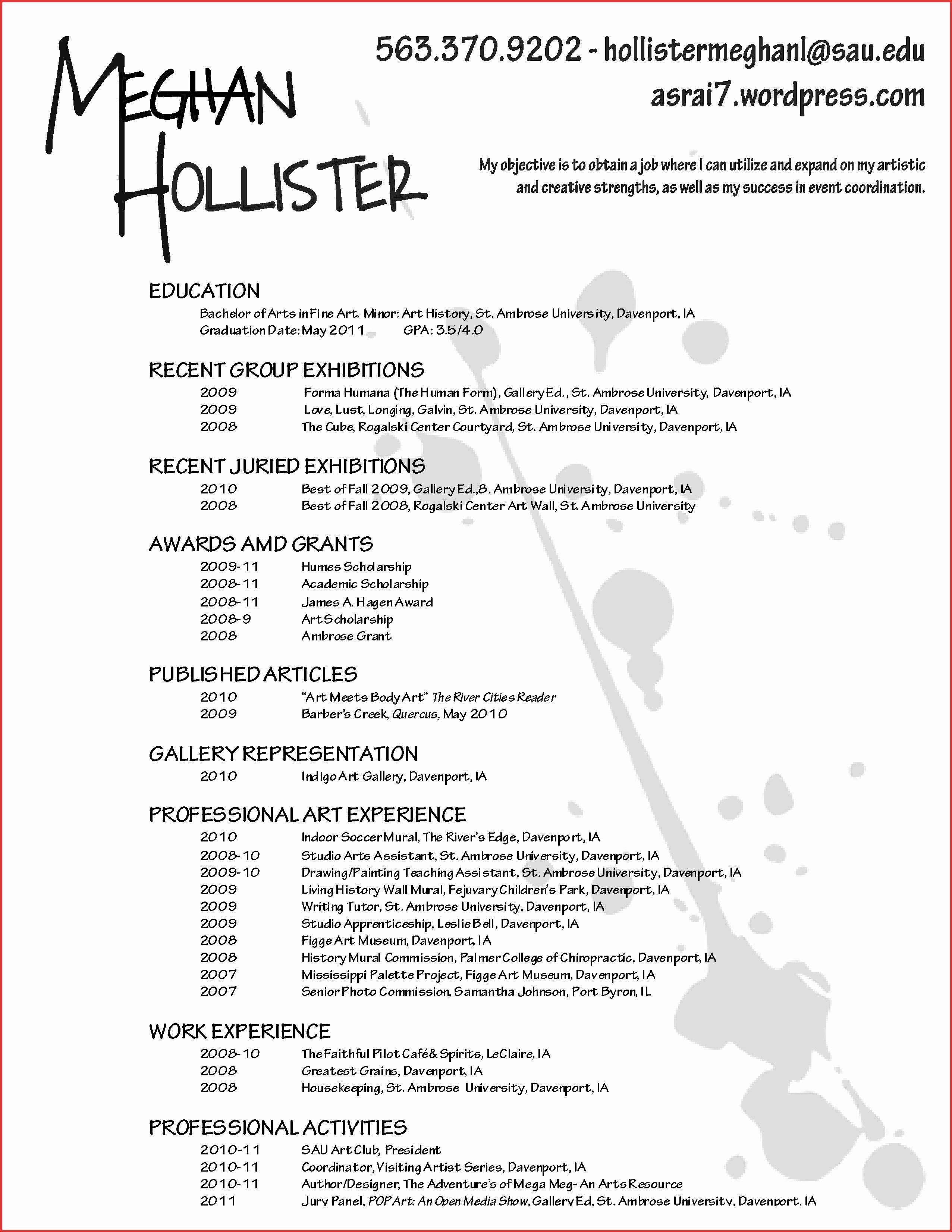 Cv Template Artist Artist Cv Makeup Artist Resume Artist Resume