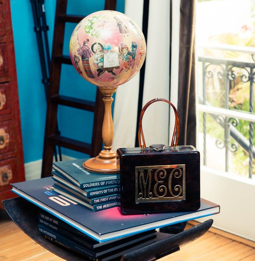 """I walked into a vintage store and saw the purse and thought """"That looks like the fucking fanciest lunch box I've ever seen,"""" so I got it to use as a purse. I like to make up different things every time someone asks me what the initials stand for. Last time I said Meat Eaters Collective."""