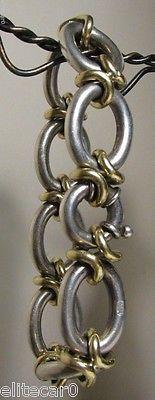 Vintage Sterling Silver & Gold Bracelet Italy Heavy 74 Grams GREAT Link Design