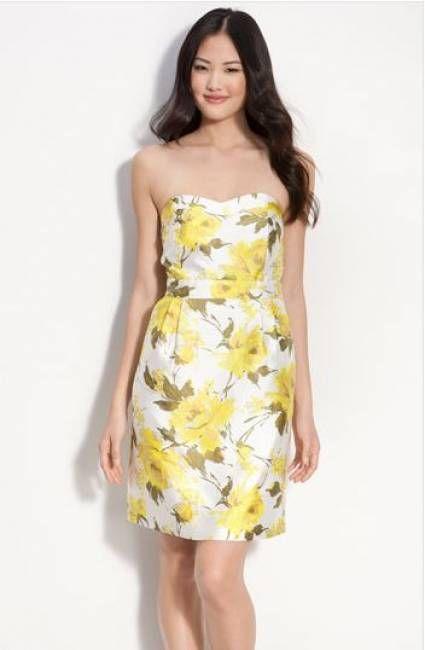 Yellow Print Bridesmaid Dresses