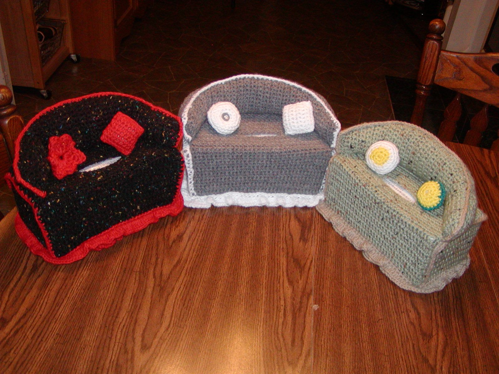 Crochet Sofa Cover Patterns Walmart Black Crocheted Couch Kleenex Box Chosen Treasures Of