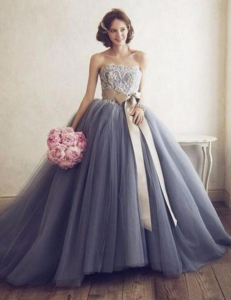 A-Line Strapless Sleeveless Court Train Sash Grey Tulle Prom Dress ...