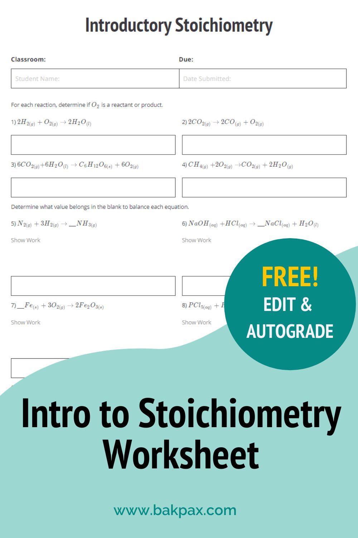 Free Intro To Stoichiometry Chemistry Worksheet Geometry Worksheets Chemistry Worksheets Conditional Probability