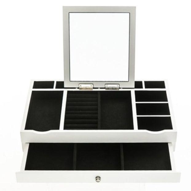 White Jewelry Box Organizer Mirror Modern Makeup Drawer White