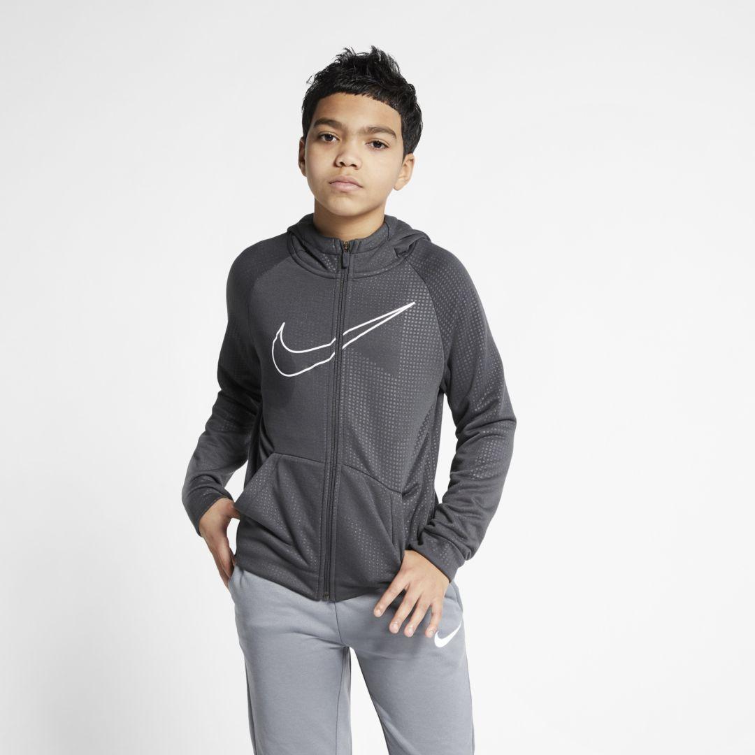 3b83f7ff8 Nike Dri-FIT Big Kids' (Boys') Full-Zip Training Hoodie Size M (Anthracite)