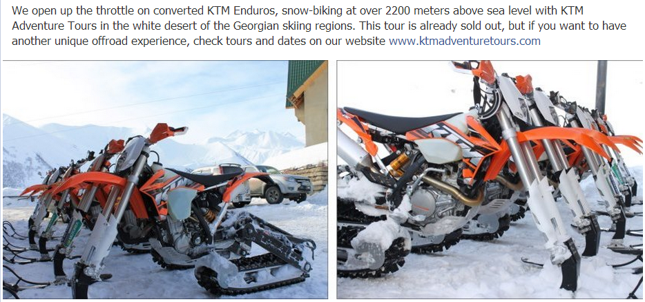 cross country motorbikes converted to skiis and being offered on a tour from Facebook