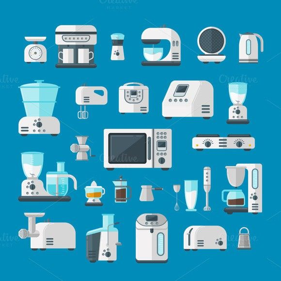 Home appliances vector set. Infographic Templates. 5.00