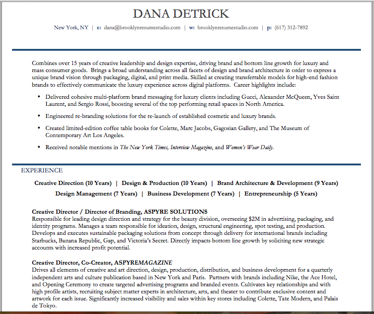 Creative Director Resume Functional Format  Brooklyn Resume