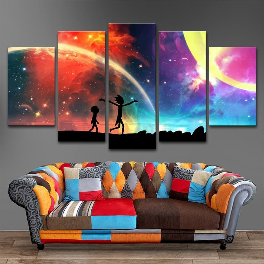 5 Panels Canvas Painting Rick And Morty Wall Art Canvas Wall Art