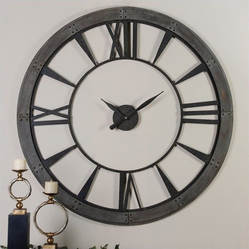 Uttermost Ronan 60 Inch Wall Clock In Dark Rustic Bronze Oversized Wall Clock Large Metal Wall Clock Round Wall Clocks