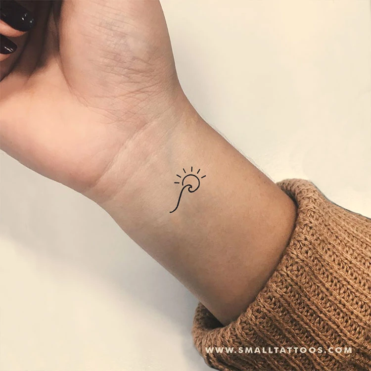 Photo of Minimalist Wave and Sun Temporary Tattoo (Set of 3)